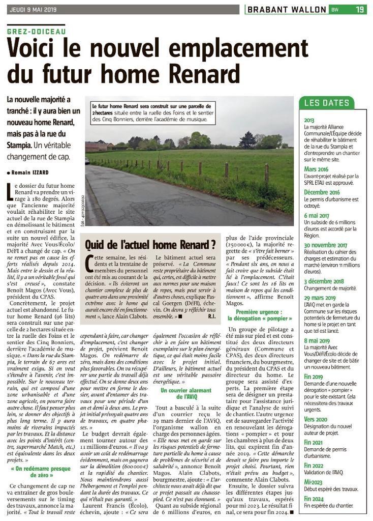 Nouvel emplacement du home Renard